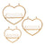 Heart Shaped Metal and Wooden Shelf, Set of 3, Gold - BM232718
