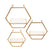 Hexagon Shaped Metal and Wooden Shelf, Set of 3, Gold - BM232719