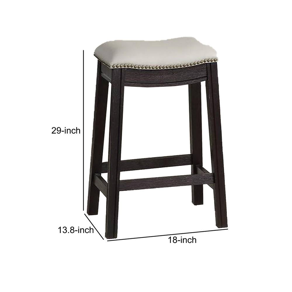 Benjara 29 Inch Wooden Bar Stool With Upholstered Cushion Seat Set Of 2 Gray And Black Bm233105 Benzara Com