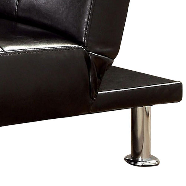 Convertible Leatherette Chair with Tufted Design and Side Pockets, Black - BM235421