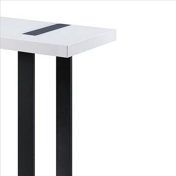 Two Tone Modern Sofa Table with Metal Legs, White and Black - BM240040