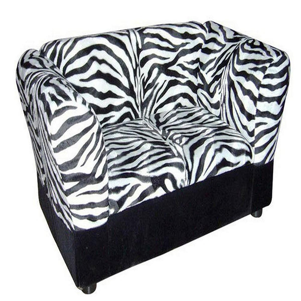 Sofa Pet Bed with Zebra Print Fabric and Storage, White and Black - BM240402