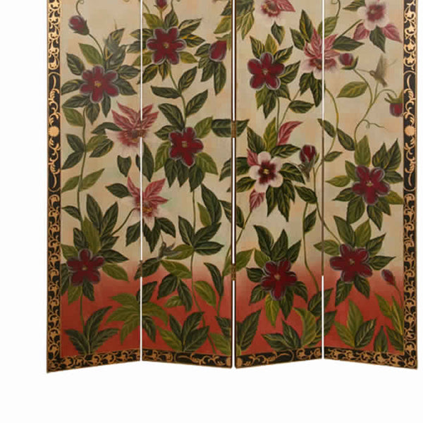 Wooden Canvas Screen with Beautiful Floral Design, Multicolor - BM26458