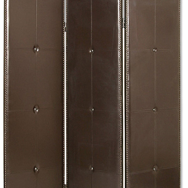 Wooden 3 Panel Screen with Button Tufting and Antique Nailheads, Brown - BM26468