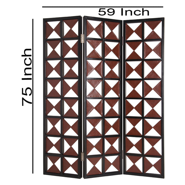 3 Panel Room Divider with Symmetric Triangle Cutout Pattern, Small,Brown - BM26478