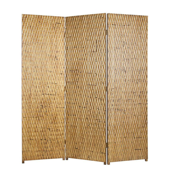 3 Panel Foldable Room Divider with Patterned Wood Panelling, Gold - BM26484