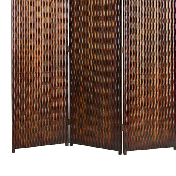 3 Panel Foldable Room Divider with Patterned Wood Panelling, Brown - BM26485
