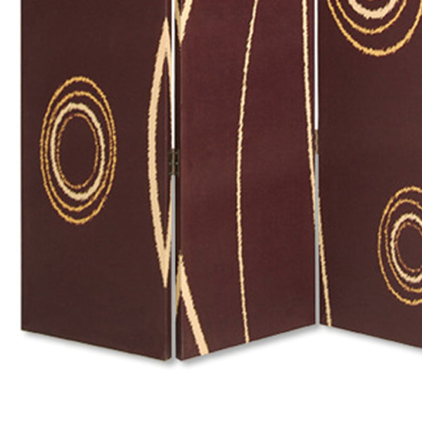 3 Panel Foldable Canvas Room Divider with Circle Design, Brown and Yellow - BM26491