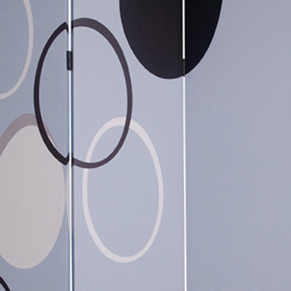 3 Panel Room Divider with Overlapping Circles Pattern, Black and Gray - BM26493