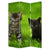 3 Panel Foldable Wooden Screen with Kitten Print, Brown and Green - BM26508