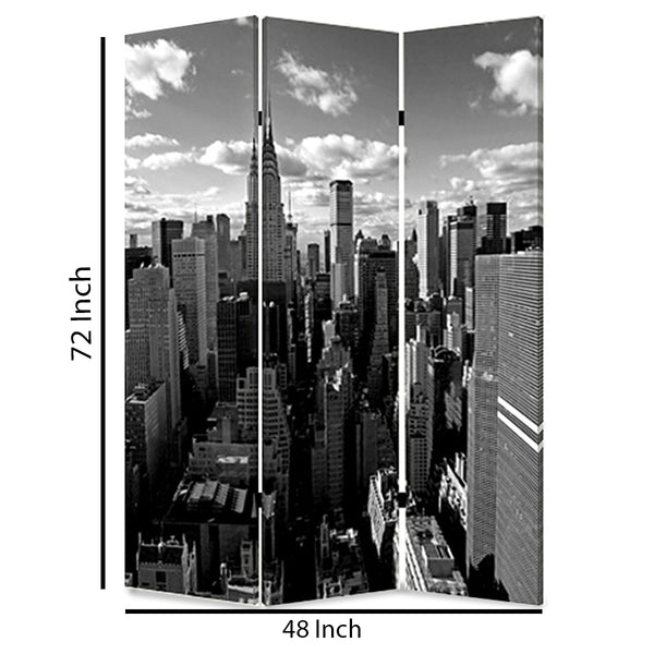 3 Panel Foldable Screen with New York Skyline Print, Black and White - BM26512