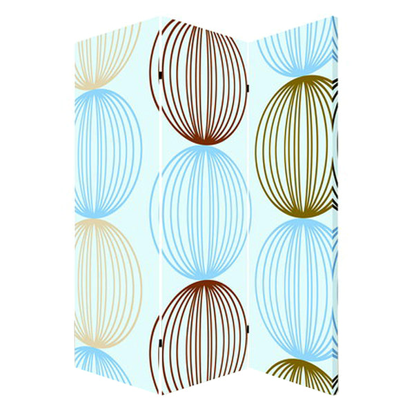 3 Panel Canvas Made Foldable Screen with Sphere Print, Multicolor - BM26518