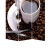 3 Panel Foldable Canvas Screen with Coffee Print, Brown and White - BM26522