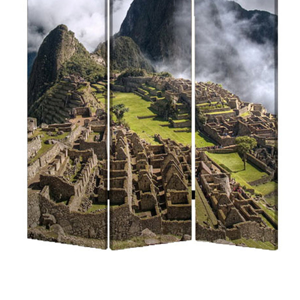 3 Panel Foldable Canvas Screen with Machu Picchu Print, Multicolor - BM26527