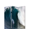 Surfing High Wave Print Foldable Canvas Screen with 3 Panels, Blue - BM26535