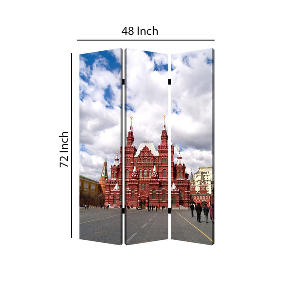 Russian Tower Print Foldable Canvas Screen with 3 Panels, Multicolor - BM26544