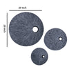 Ribbed Round Sandstone Wall Decor with Cut Out Near the Edge, Medium, Gray - BM26626