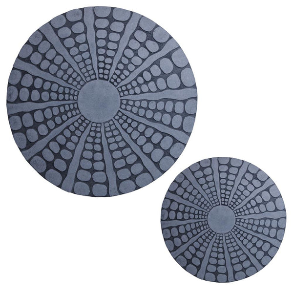 Round Shape Sandstone Wall Decor with Stardust Pebble, Small, Gray - BM26633