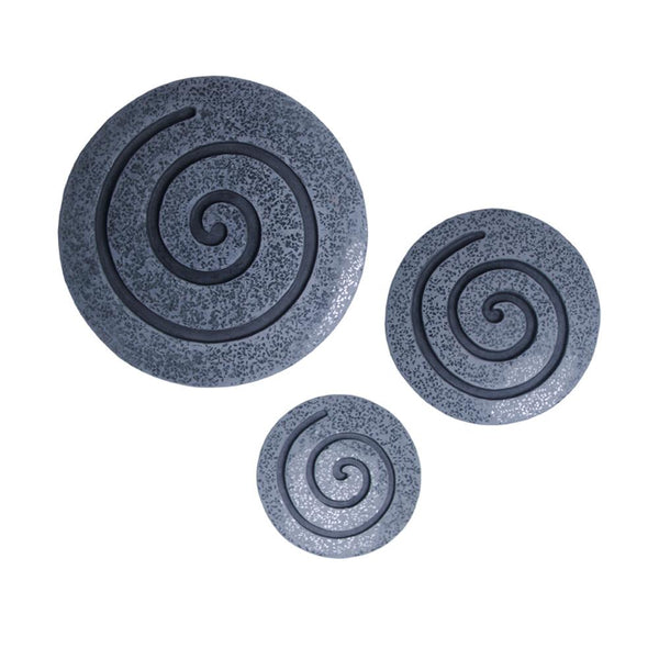 Round Sandstone and Glass Wall Decor with Spiral Design, Small, Gray - BM26640