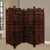 Hand Carved Sun And Moon Design Foldable 4 Panel Wooden Room Divider, Brown - BM34821