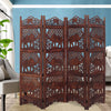 Hand Carved Elephant Design Foldable 4 Panel Wooden Room Divider, Brown - BM34823
