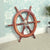 "24"" Teak Wood Ship Wheel with Brass Inset and Six Spokes, Brown and Gold - BM34833"