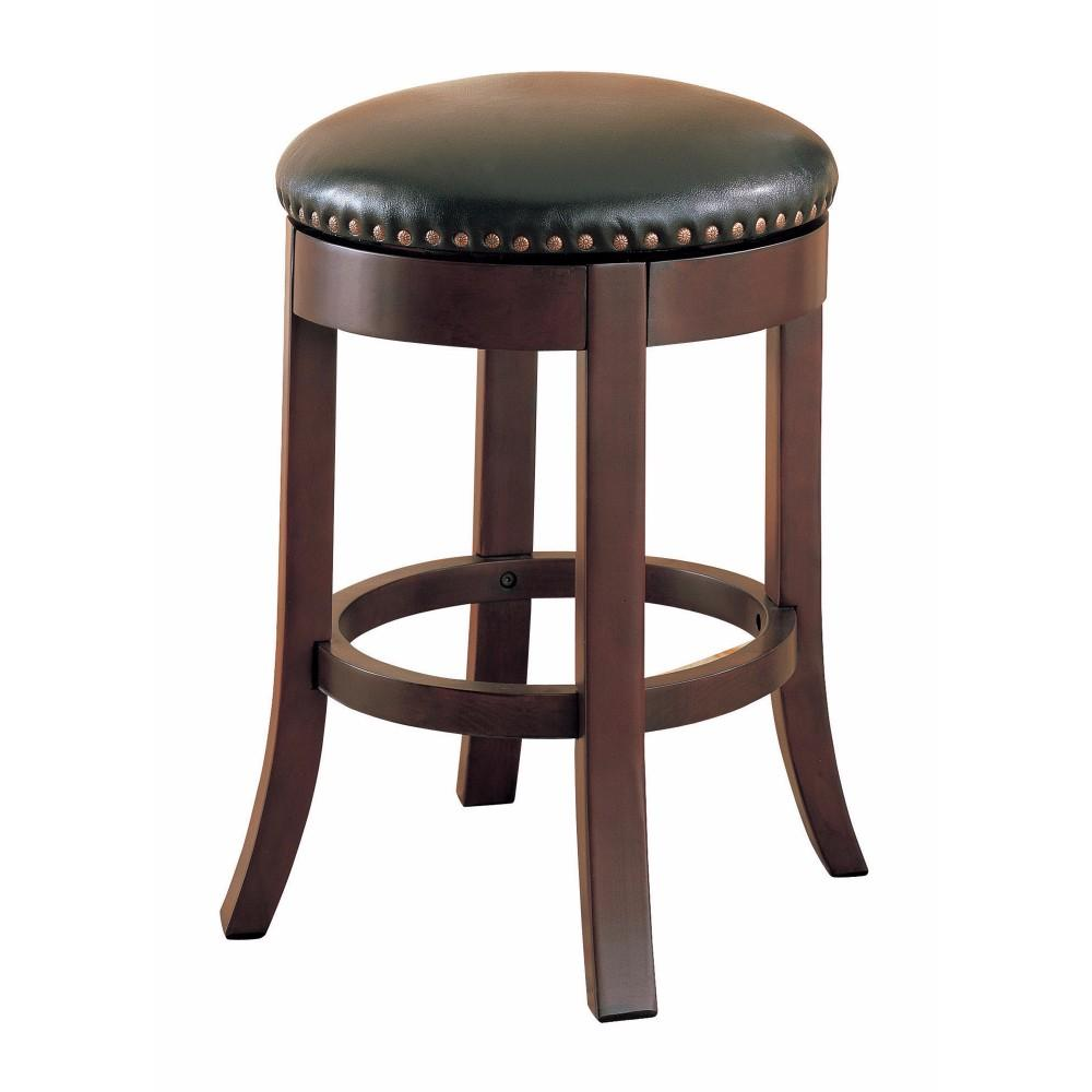 Phenomenal Round Wooden Counter Height Stool With Upholstered Seat Brown Set Of 2 Bm68987 Forskolin Free Trial Chair Design Images Forskolin Free Trialorg