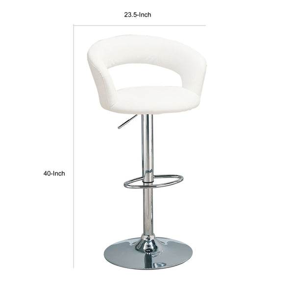BM69363 Faux Leather Bar Stool, White