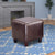 Contemporary Leather Cube Ottoman, Dark Brown - BM69606