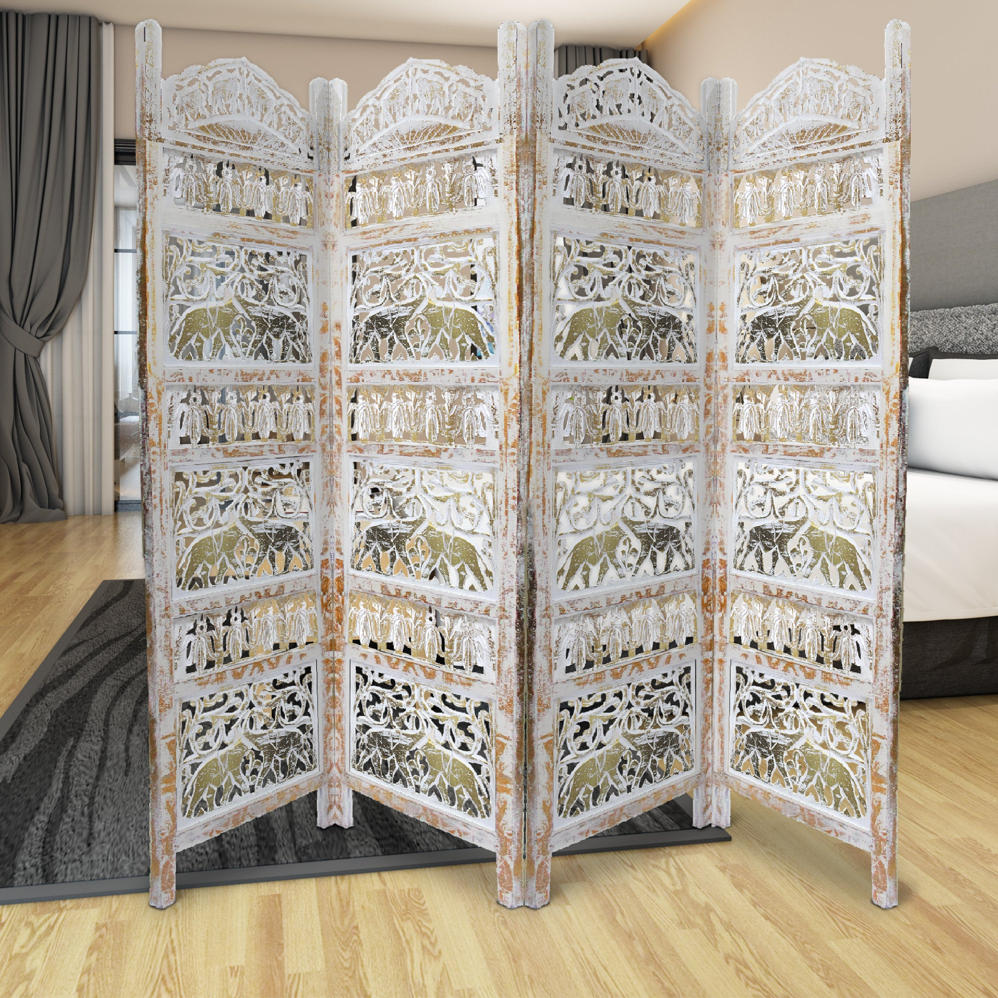 Benjara Classic 4 Panel Mango Wood Room Divider With Elephant Carvings Gold And White Bm80947 Benzara Com
