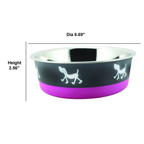 Stainless Steel Pet Bowl with Anti Skid Rubber Base and Dog Design, Gray and Pink-Set of 24 - BNC-10003-24