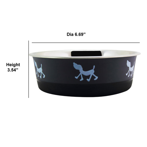 Stainless Steel Pet Bowl with Anti Skid Rubber Base and Dog Design, Gray and Black-Set of 6 - BNC-10004-6