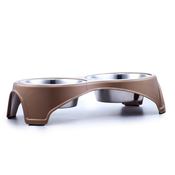 Plastic Framed Double Diner Pet Bowl in Stainless Steel, Small, Gold and Silver-Set of 24 - BNC-14020-24