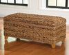 Modern Wood & Woven Abaca Trunk, Rustic Brown