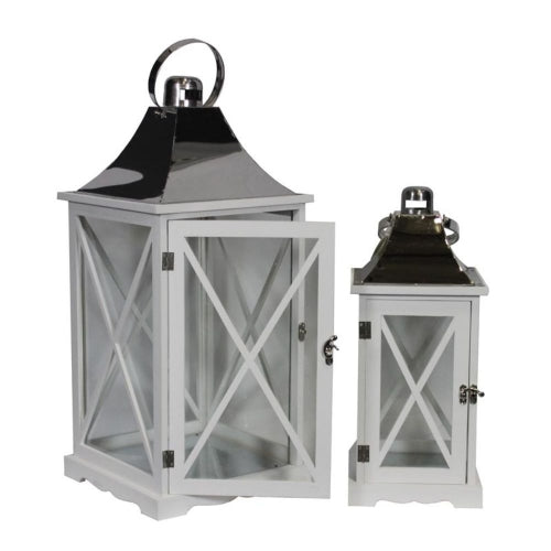 Remarkable Two Piece Wooden Lantern- Benzara