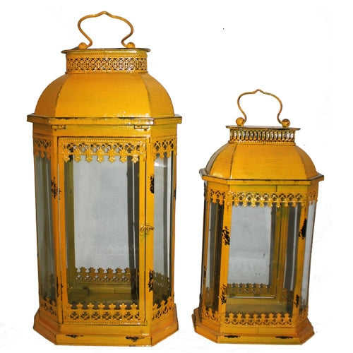 Elegant 2 Piece Metal Lantern Set