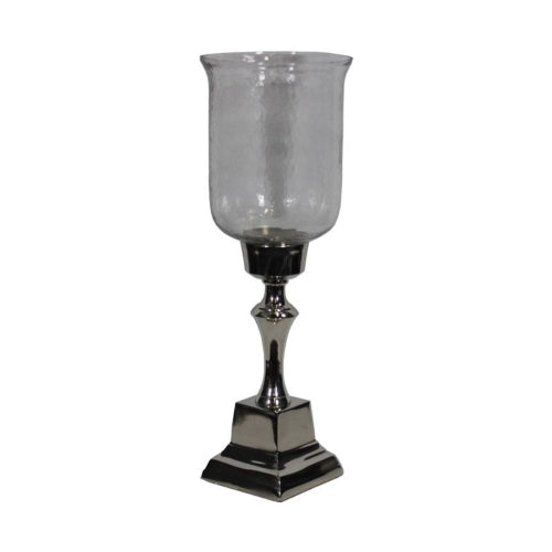Stunning Hammered Glass Candle Holder - Silver - Benzara