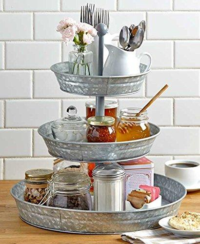 I305-HGM006 Galvanized Metal 3 Tiered Round Serving Tray, Gray