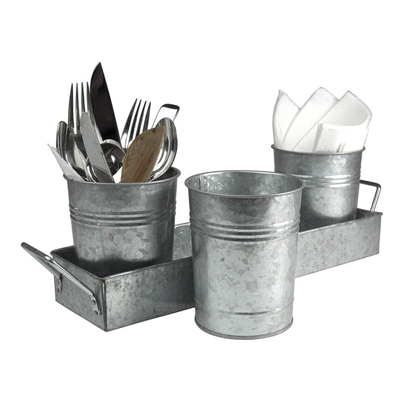 I305-HGM007 Galvanized Set of Three Planters With Tray, Gray
