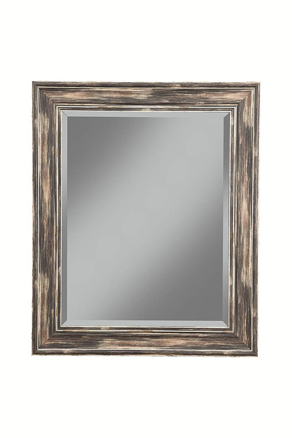 Polystyrene Framed Wall Mirror With Sharp Edges, Antique Black