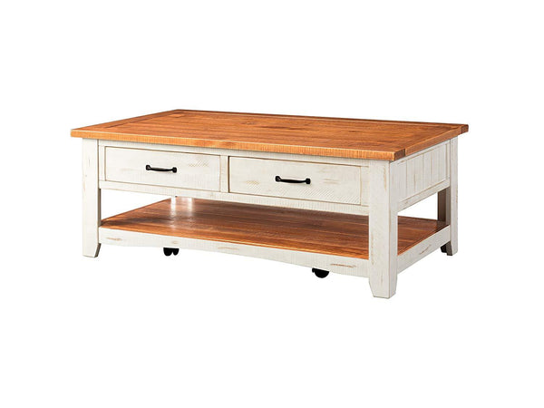 Dual Tone Wooden Coffee Table With Two Drawers, Antique White and Honey Tobacco Brown