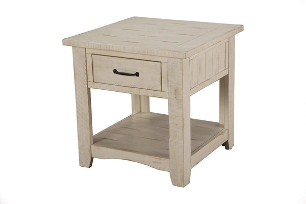 Wooden End Table With 1 Drawer & 1 Shelf, Antique White