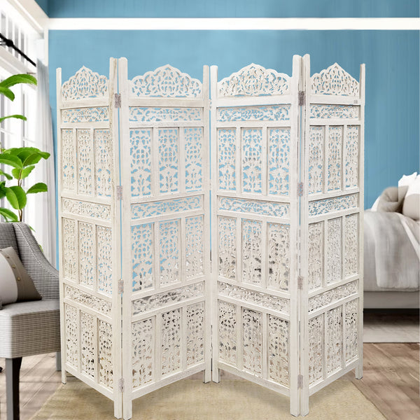 Aesthetically Carved 4 Panel Wooden Partition Screen/Room Divider, Distressed White - UPT-148945