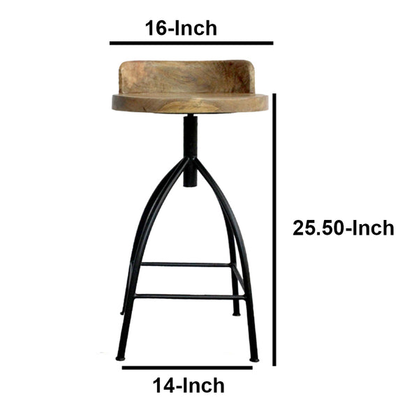 Industrial Style Adjustable Swivel Counter Height Stool With Backrest - UPT-165867