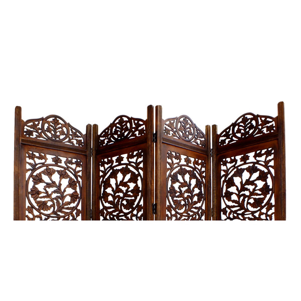 UPT-176789 Handcrafted Wooden 4 Panel Room Divider Screen Featuring Lotus Pattern-Reversible