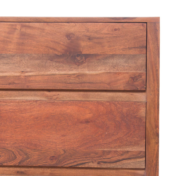 Modern Acacia Wood Dresser or Display Unit With Metal Base, Walnut Brown and Black - UPT-182996