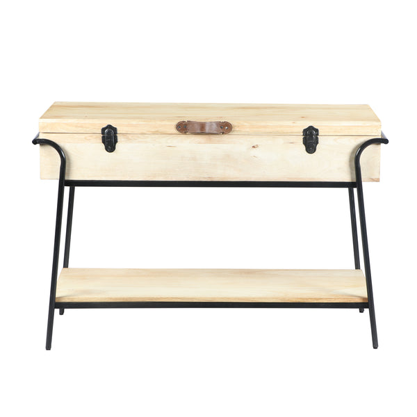 Handmade Wood and Metal Box Console Table with Removable Storage, Brown and Black - UPT-195119