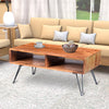 42 Inch Handcrafted Mango Wood Coffee Table with Metal Hairpin Legs, Brown and Black - UPT-195121