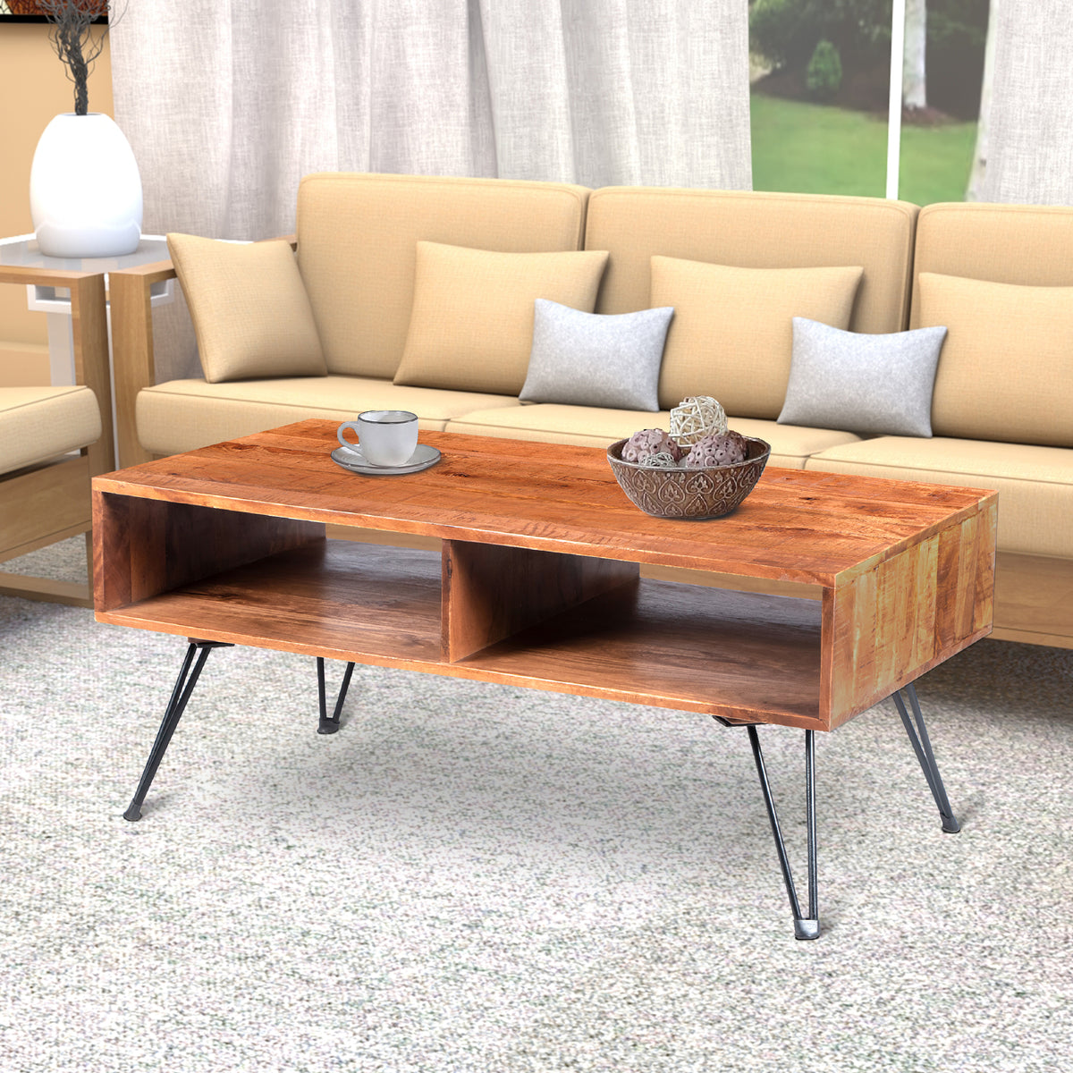 The Urban Port 42 Inch Handcrafted Mango Wood Coffee Table With Metal Hairpin Legs Brown And Black Upt 195121 Benzara Com [ 1200 x 1200 Pixel ]