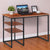 45 Inch Tubular Metal Frame Desk with Wooden Top and 2 Side Shelves, Brown and Black - UPT-195123